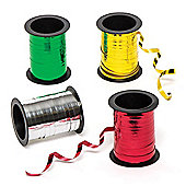 Metallic Foil Ribbons in 4 Assorted Colours Perfect for Christmas Arts & Crafts and Gift Wrapping and Xmas Decorations (Pack of 4 reels)