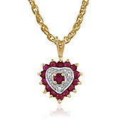 Gemondo 9ct Yellow Gold 0.62ct Ruby & 1.5pt Diamond Heart Pendant on 45cm Chain
