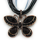 Black/Dark Grey Diamante 'Butterfly' Cotton Cord Pendant Necklace In Bronze Metal - 38cm Length/ 8cm Extension