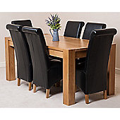 Kuba Chunky Solid Oak 180 cm Dining Table with 6 Black Montana Leather Chairs