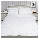 Pretty Slogan Word Print Duvet Set - Duck egg blue