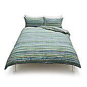Multi Textured Stripe  Duvet Set, - Blue