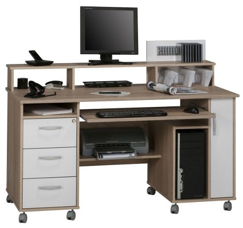 Buy maja exeter oak and white computer desk from our office desks tables range tesco - Tesco office desk ...