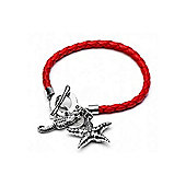 Red Plaited Starfish Charm Bracelet