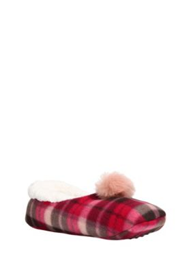 buy f f checked pom pom trim slipper socks from our gifts. Black Bedroom Furniture Sets. Home Design Ideas