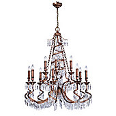 Savoy House Twisted Twelve Light Chandelier in Distressed Antique Bronze