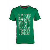 Camp Hike Trek Kids Tee Boys T-Shirt Short Sleeve Printed Breathable - Green