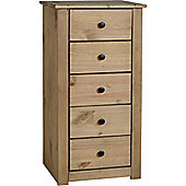 Panama 5 Drawer Narrow Chest Natural Wax