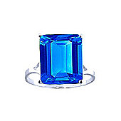 QP Jewellers 7.0ct Blue Topaz Auroral Ring in 14K White Gold