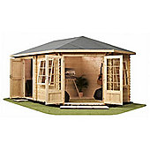 17ft x 10ft (5m x 3m) Corner Plus Log Cabin (Single Glazing) 28mm **Right Side Entrance