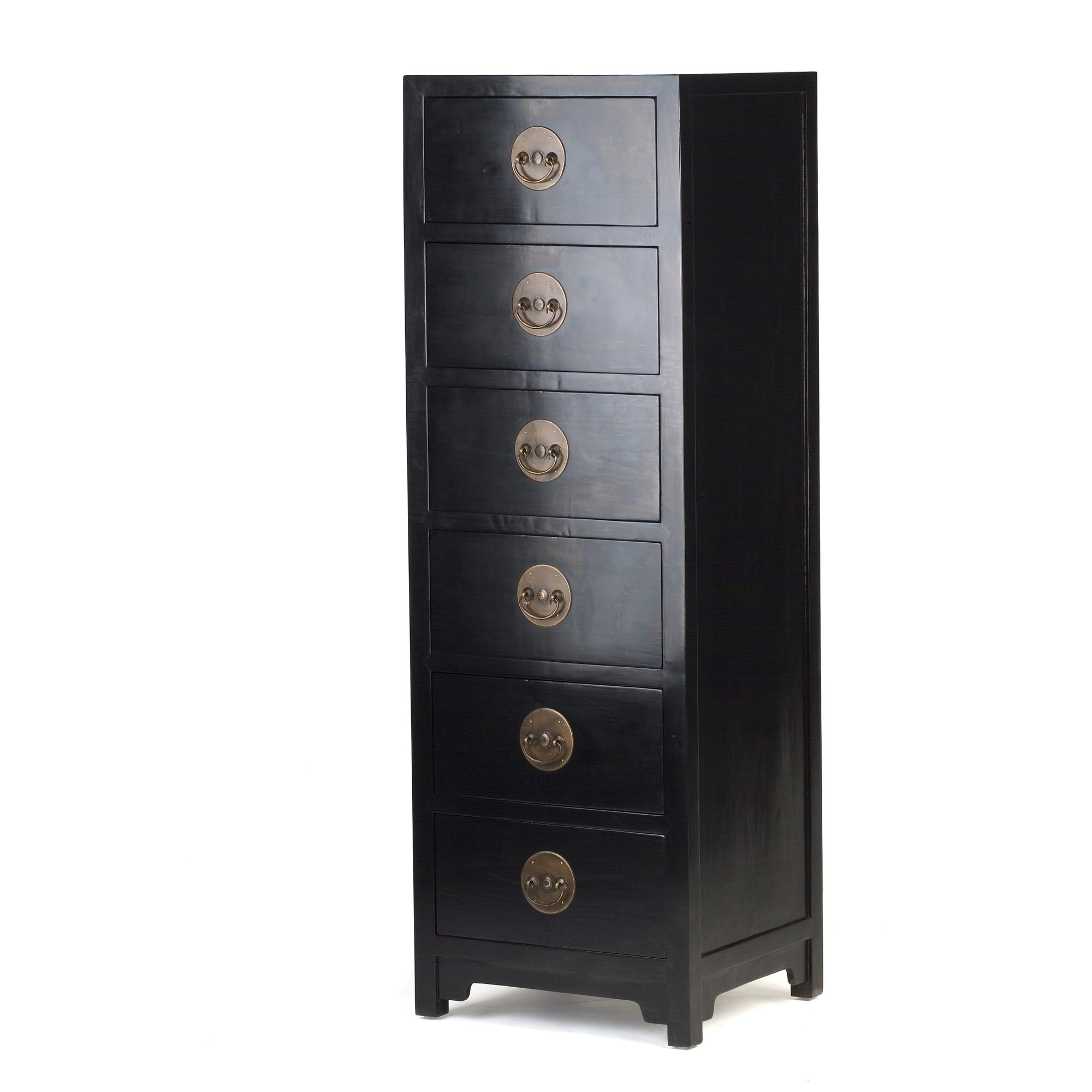 Shimu Chinese Classical Ming Tall Boy Chest - Black Lacquer at Tesco Direct