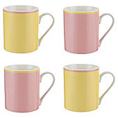 Tesco Pastel Pink and Lemon Coloured Rim Mugs 4 pack