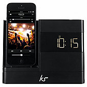 Kitsound X-Dock with FM Radio for iPhone 5/5s/6/6 Plus, Black