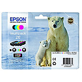 Epson Multipack 4-colours 26 Claria Premium Ink MultiPack Cartridges EIC Contains 1 x Black / 1 x Cyan / 1 x Magenta and 1 x Yellow Cartridge