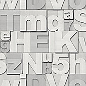 Muriva Wood Letters Wallpaper - White