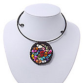 Multicoloured Shell Beaded Medallion Wired Flex Choker Necklace - Adjustable
