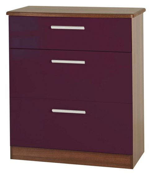 Welcome Furniture Knightsbridge 3 Drawer Deep Chest - Walnut - Cream