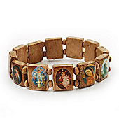 Light Brown Wooden Religious Images Catholic Jesus Icon Saints Stretch Bracelet - up to 20cm length