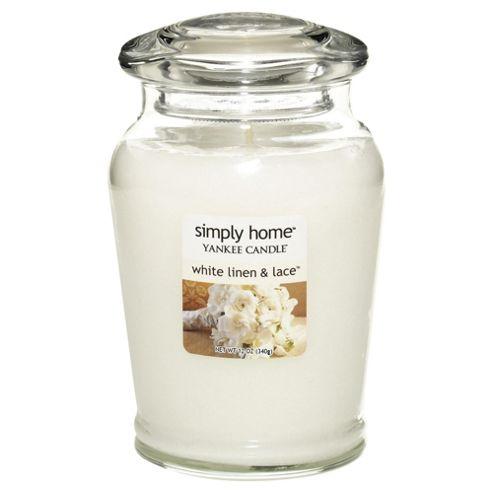 Yankee Candle Medium Jar White Linen & Lace