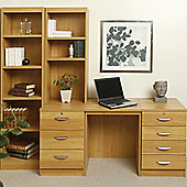 Enduro 1050Home Office Desk / Workstation with Bookshelves - Beech