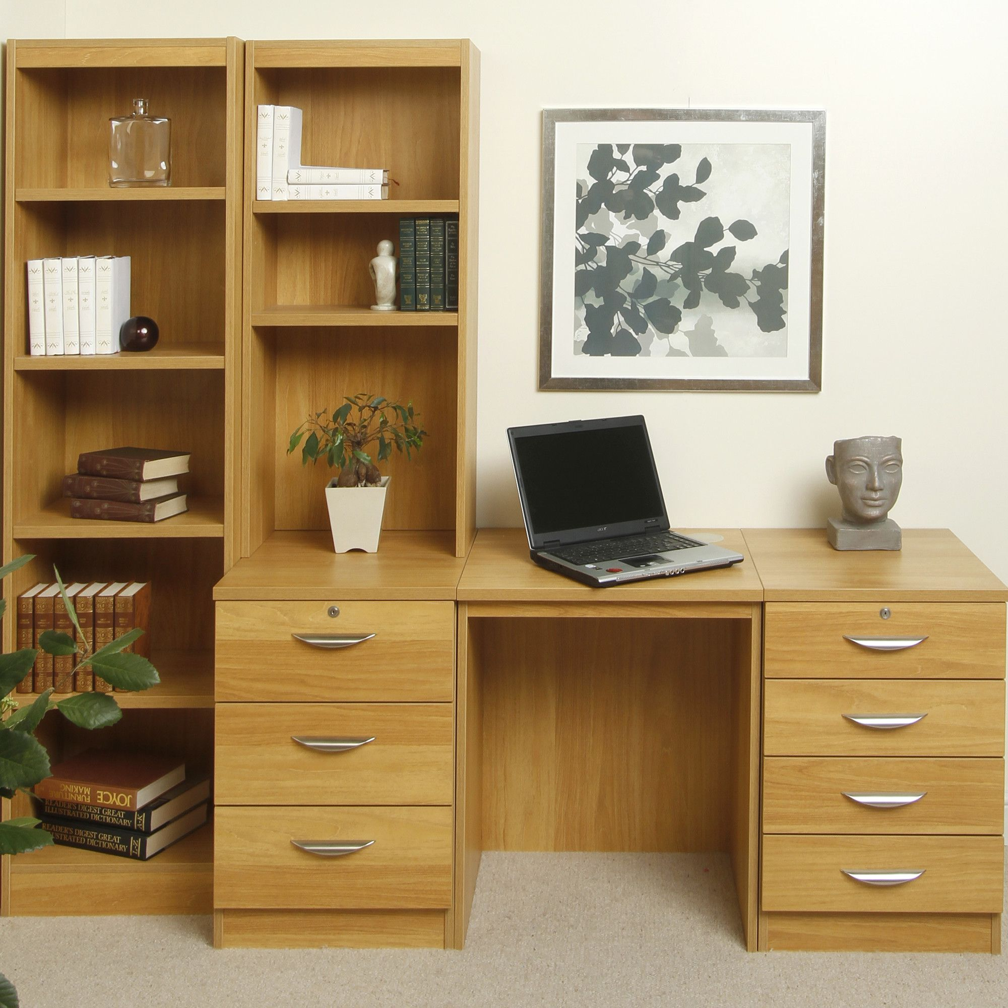 Enduro 1050Home Office Desk / Workstation with Bookshelves - Beech at Tesco Direct