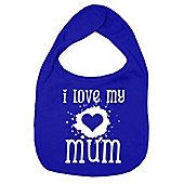 Dirty Fingers I Love my Mum Baby Bib Royal Blue