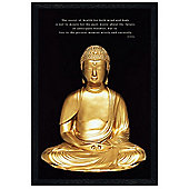 Buddhism Buddha Black Wooden Framed Live in the Present Moment Poster