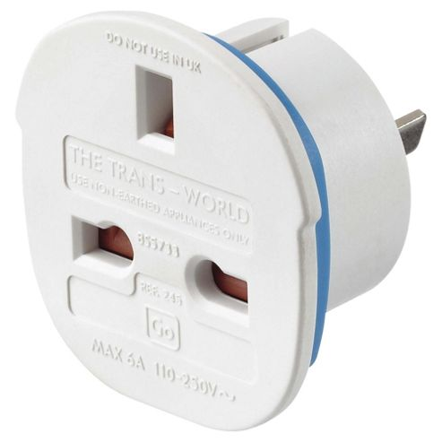 Go Travel UK to Worldwide Travel Adaptor Plug Twin Pack