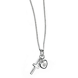 Children's D for Diamond Diamond Heart and Cross Pendant