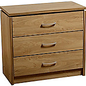 Charles 3 Drawer Chest Oak Effect Veneer with Walnut Trim