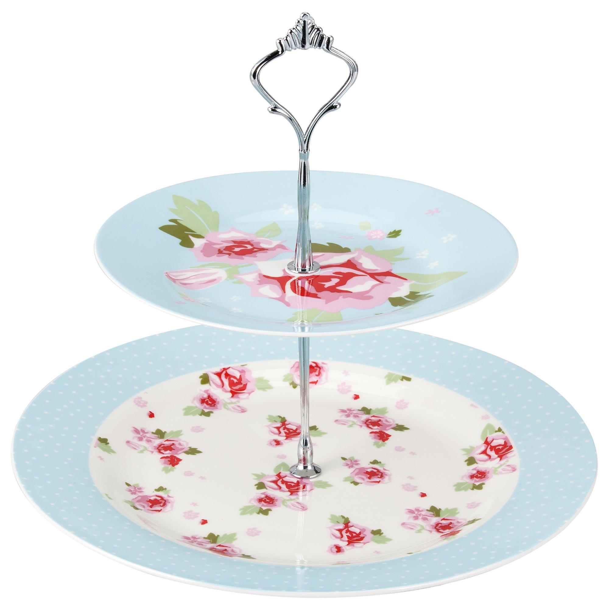 Tesco English Rose Fine China Cake Stand