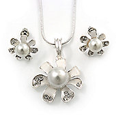 Enamel White Pearl, Crystal Flower Pendant With Silver Tone Snake Style Chain & Stud Earrings Set - 40cm Length/6cm Extender