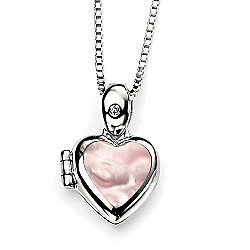 Children's D for Diamond Pink Mother of Pearl Heart Locket
