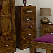 Elements Cubex Bedroom Five Drawer Tall Chest in Warm Lacquer