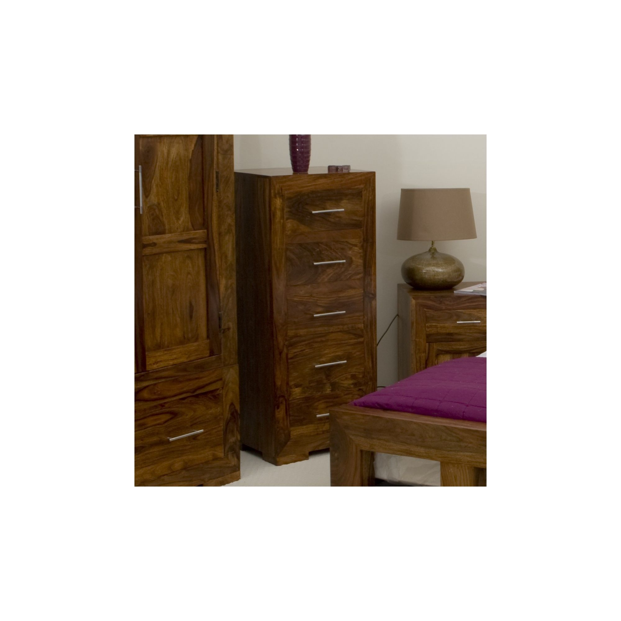 Elements Cubex Bedroom Five Drawer Tall Chest in Warm Lacquer at Tesco Direct