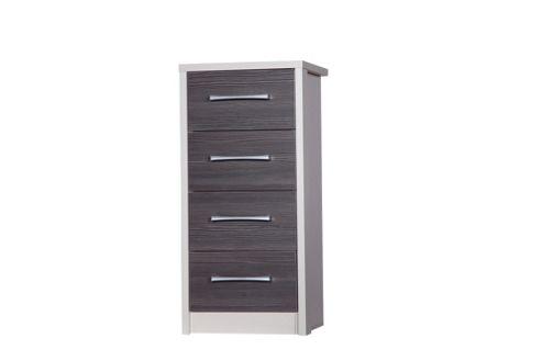 Alto Furniture Avola 4 Drawer Tall Boy Chest - Cream Carcass With Grey Avola