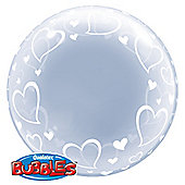 """Deco Hearts Valentines Balloon - 22"""" Bubble (each)"""