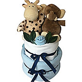 2 Tier Baby Boy Safari Nappy Cake