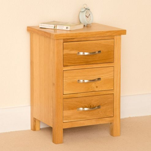 Buy newlyn oak 3 drawer bedside light oak from our bedside chests tables range tesco Tesco home bedroom furniture