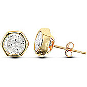 Jewelco London 9ct Yellow Gold hexagon shaped studs Rub-Over set with solitaire CZ stone