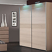 Sleepline Diva Wardrobe with 4 Shelves - Grey Mat Lacquered - With Mirror - 265cm
