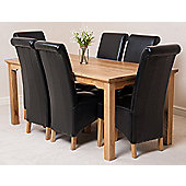 Aspen Solid Oak 180 cm Dining Table with 6 Montana Leather chairs (Black)
