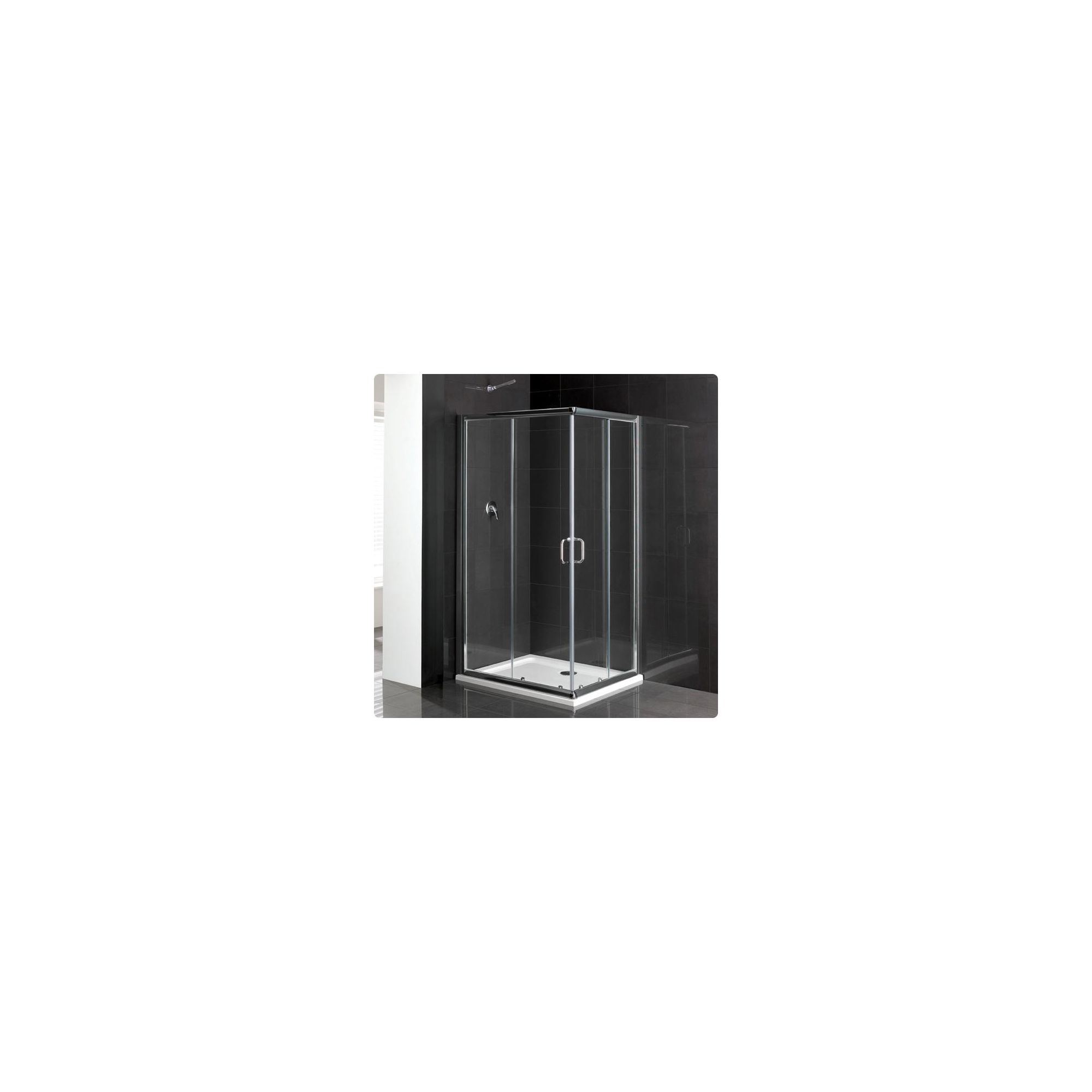 Duchy Elite Silver Corner Entry Shower Enclosure 800mm x 800mm, Standard Tray, 6mm Glass at Tesco Direct