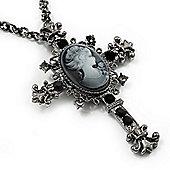 Victorian Cross Cameo Pendant Necklace (Gun Metal) - 65cm Length