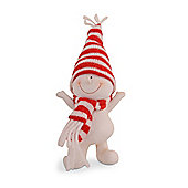 Character Snowman in Red & White Hat & Scarf with Hands Up Christmas Ornament
