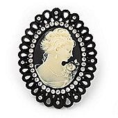 Large Diamante 'Classic Cameo' Cocktail Ring In Black Tone Metal (Adjustable) - 6.5cm Length