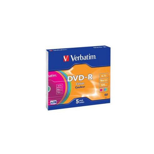Verbatim 16x Non-Printable DVD-R Slim Case 5 Pack