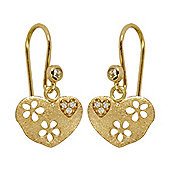 Blossom Copenhagen Gold Plated Sterling Silver Cubic Zirconia Heart Hook Drop Earrings