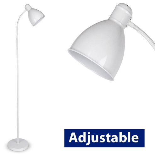Adjustable Flexi Neck Floor Lamp in White