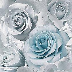 Madison Rose Floral Wallpaper - Blue - 119503